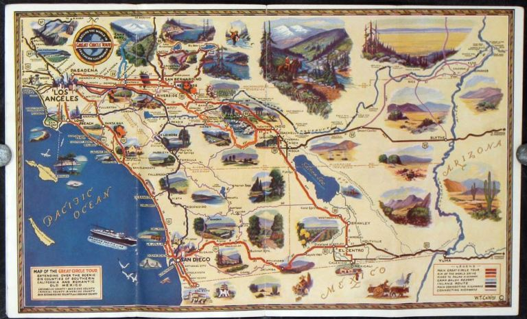 Great Circle Tour. Around the World in Southern California. Over 100 internationally famous points of interest. (Map title: Map of the Great Circle Tour Extending over the Scenic Six Counties of Southern California and Romantic Old Mexico.). CALIFORNIA - SOUTHERN CALIFORNIA.