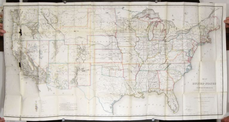 Map of the United States and Territories shewing the extent of Public Surveys and other details. UNITED STATES - TRANSCONTINENTAL RAILROAD COMPLETION.