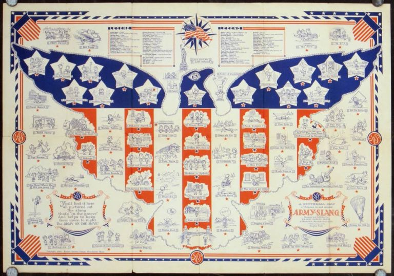 A Pictorial Map of Scenes in and around Army-Slang. UNITED STATES - ARMY.