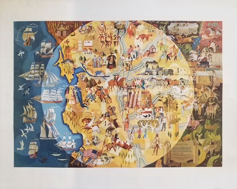 TWO MAPS: The Pageant of History in Northern California - its colorful and adventuresome beginnings. The Panorama of Today in Northern California. Its resources, activities and opportunities. CALIFORNIA - NORTHERN.