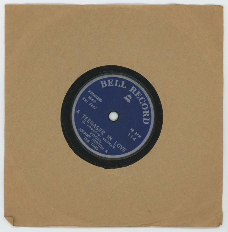"""""""A Teenager in Love"""" Record. VINTAGE 78 RPM RECORD, """"Teenager"""": D. Pomus-M. Shuman. """"Sorry"""": Zwirn-Giosasi. Vocalist: Johnny Newton, the Tags."""