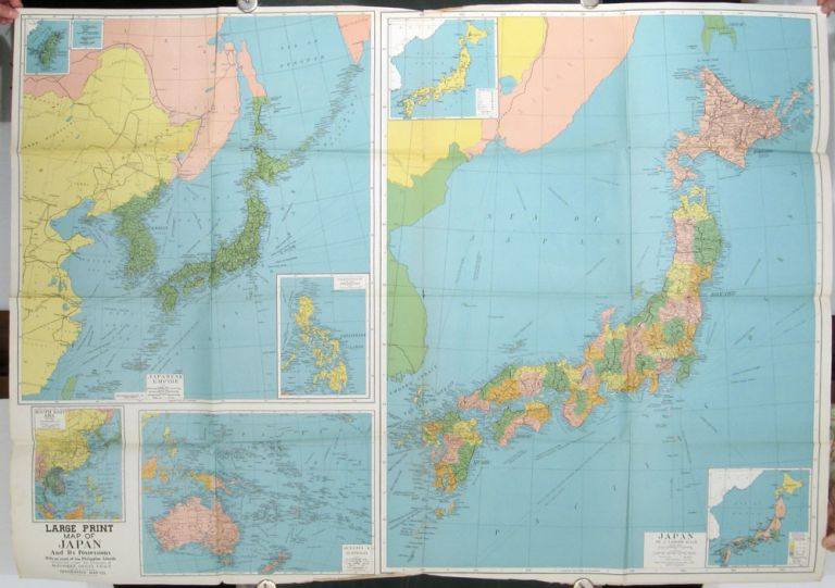 Occupation Map of Japan and Adjacent Areas including Potential U.S. Bases in the Pacific. JAPAN / WORLD WAR II.