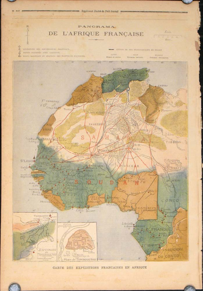 Map Of Africa French.Panorama De L Afrique Francaise Map Of French Africa In Complete Issue Of Le Petit Journal Supplement Illustre By Africa On Oldimprints Com