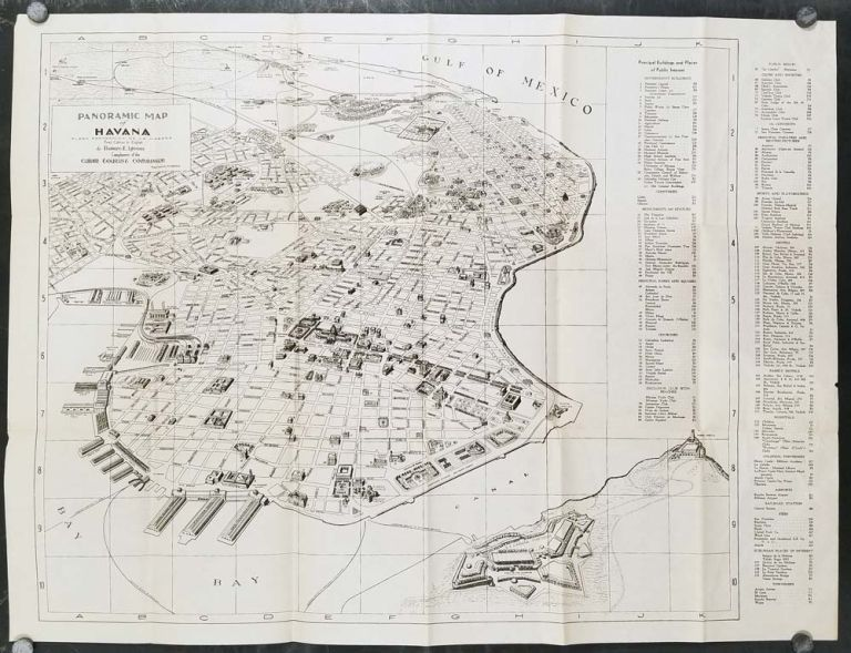 Panoramic Map of Havana. Plano Panoramico de La Habana. First Edition in English. CUBA - HAVANA - UNCOMMON FIRST EDITION OF THIS MAP.