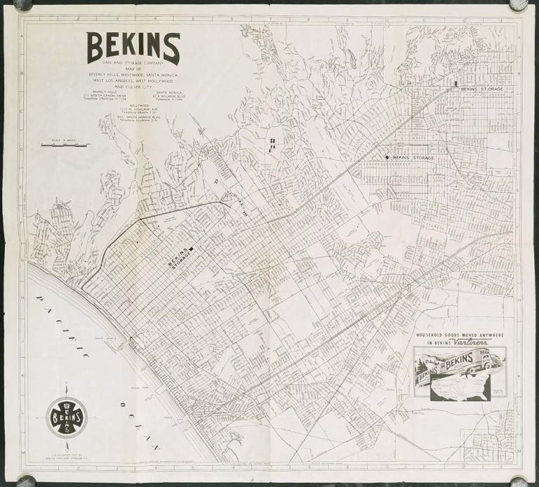 Map Of California Los Angeles.Bekins Van And Storage Company Map Of Beverly Hills Westwood Santa Monica West Los Angeles West Hollywood And Culver City Cover Title Map Of
