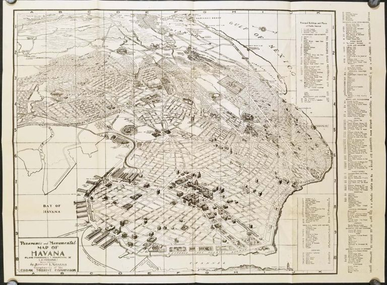 Panoramic and Monumental Map of Havana. (Plano Panoramico y Monumental de La Habana). Cover title: Panoramic Map of Greater Havana.). CUBA - HAVANA.