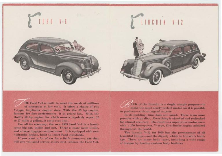The Ford Motor Company Presents Five Quality Cars FORD, MERCURY, LINCOLN 1939 BROCHURE)