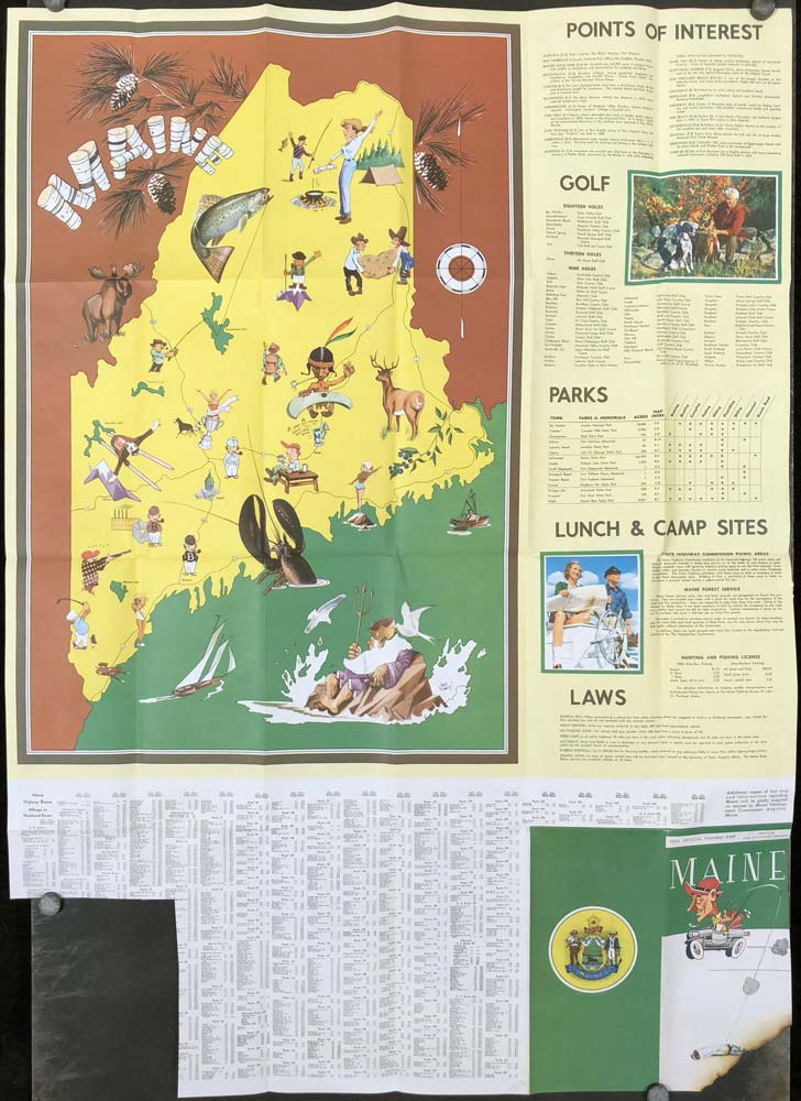 Maine. 1954 Official Highway Map. MAINE.