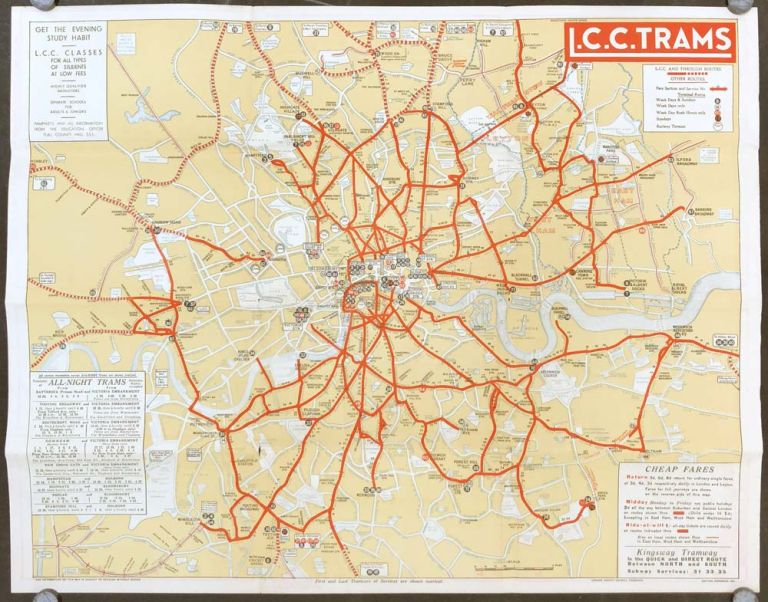 Map and Guide L. C. C. Trams. ENGLAND - LONDON TRAM MAP.