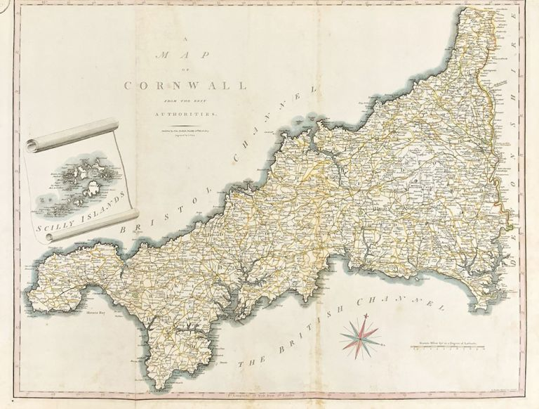 A Map of Cornwall from the Best Authorities. ENGLAND - CORNWALL.