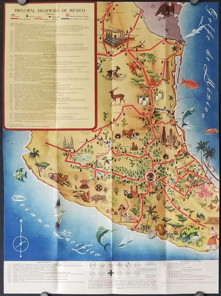 The Highway Map of Mexico. MEXICO - PICTORIAL MAP.