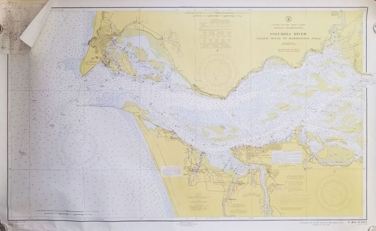 Columbia River Pacific Ocean to Harrington Point. [U.S. Coast and Geodetic Survey Map # 6151]. OREGON / WASHINGTON - NAUTICAL CHART - PRIOR TO CONSTRUCTION OF THE ASTORIA-MEGLER BRIDGE.