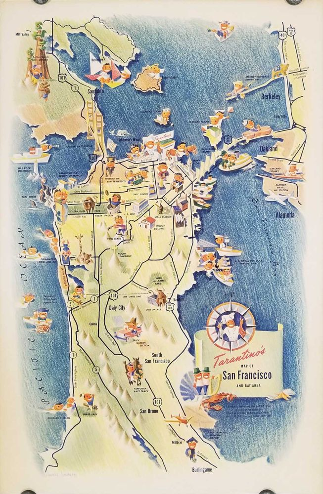 Tarantino's Map of San Francisco and the Bay Area. CALIFORNIA - SAN FRANCISCO.