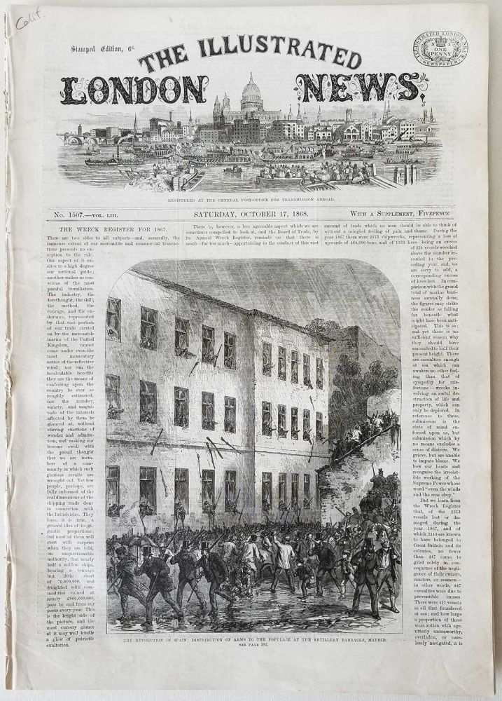 Illustrated London News. CALIFORNIA - SAN JOSE COURT HOUSE 1868.
