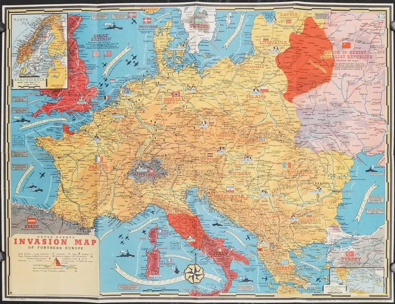 Dated Events Invasion Map of Fortress Europe by WORLD WAR II - EUROPEAN  THEATRE OF WAR on oldimprints.com
