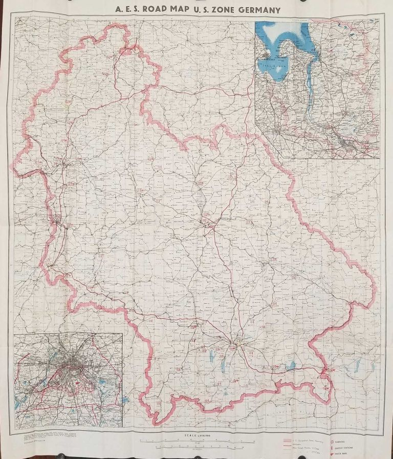 Map Of Germany Occupation Zones.A E S Road Map U S Zone Germany By Germany Occupation Map World War Ii On Oldimprints Com