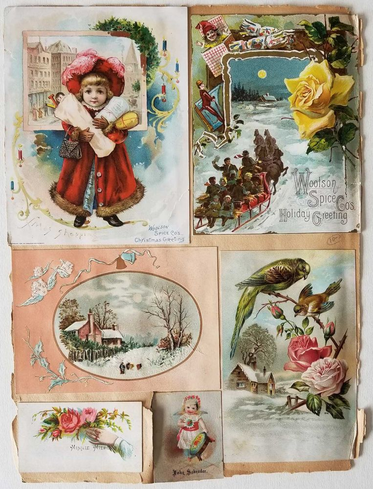 Scrapbook sheet with trade cards. TRADE CARDS - HOLIDAY.