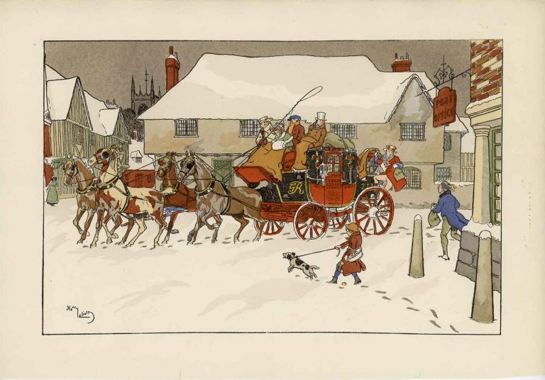 Coaching prints - set of two color lithographs. COACHING WINTER SCENES.