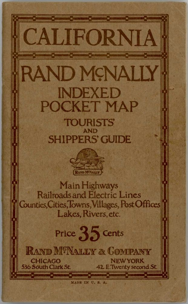 Rand McNally Indexed Pocket Map. Tourists' and Shippers Guide of California. CALIFORNIA.