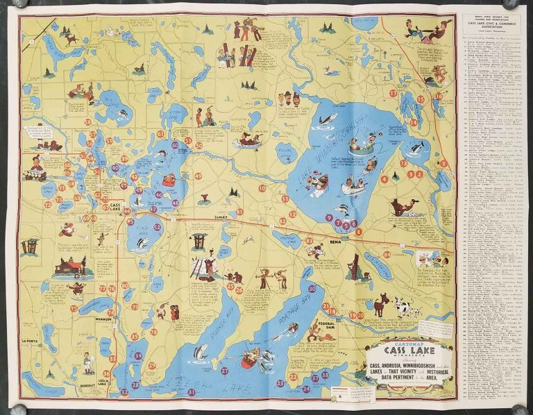 Cartomap. Cass Lake Minnesota. Showing Cass, Andrusia, Winnibigoshish and the other Lakes in That Vicinity with Historical Data Pertinent to the Area. Cover title: Cass Lake Minnesota in the Chippewa National Forest. MINNESOTA - CASS LAKE.