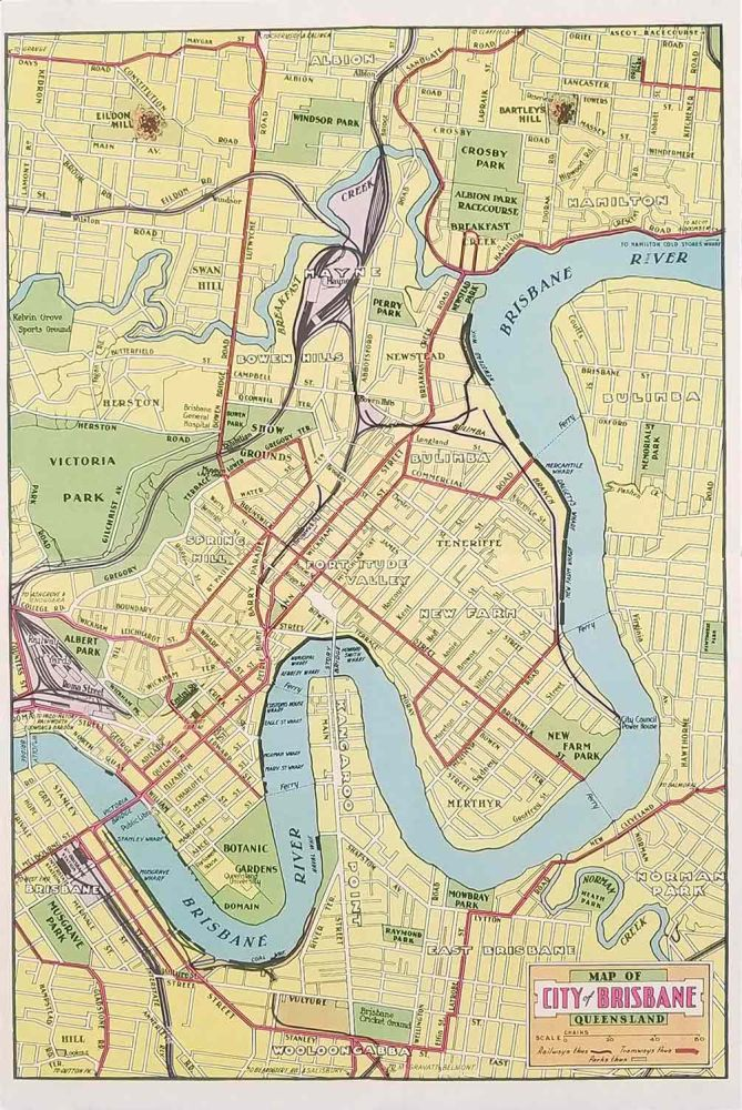 Map Of Brisbane Australia.Two Items Map Of Brisbane And Places Of Interest Brisbane For The Tourist By Australia Brisbane On Oldimprints Com