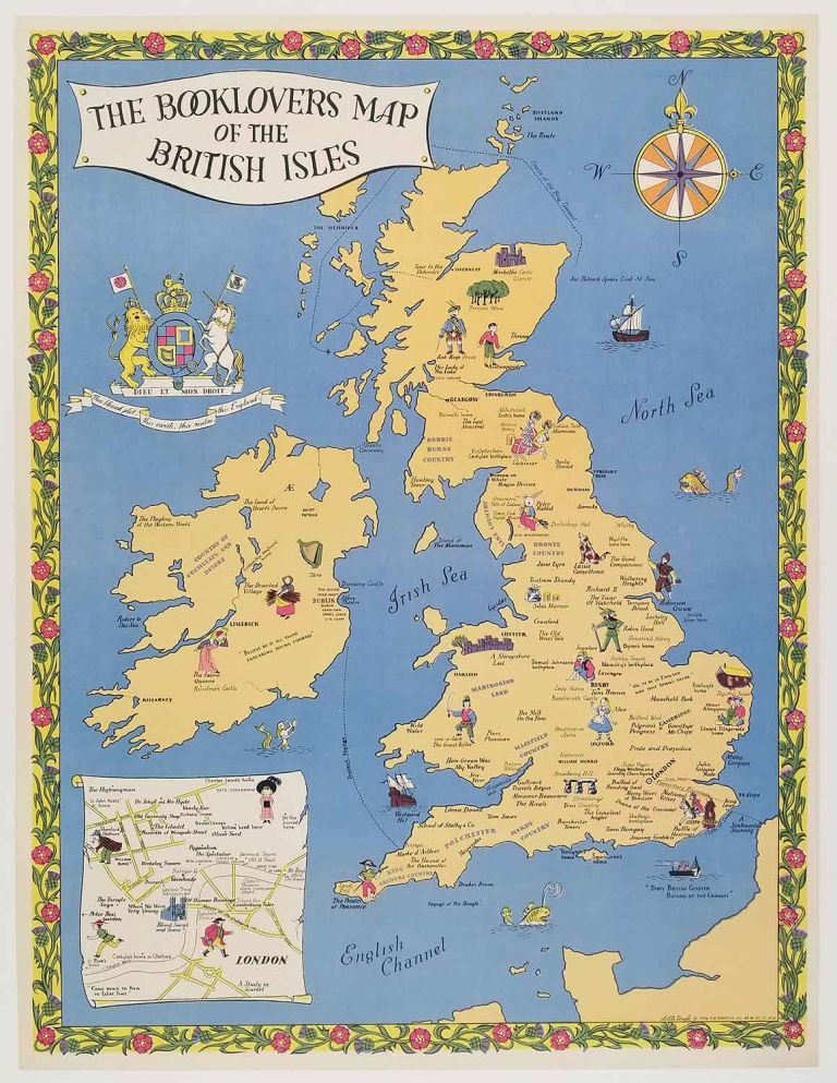 The Booklovers Map of the British Isles by BRITISH ISLES - LITERATURE on  oldimprints.com