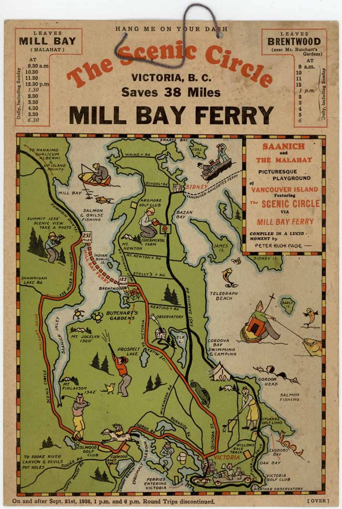 The Scenic Circle - Mill Bay Ferry. B. C. PICTORIAL MAP CANADA - VICTORIA.