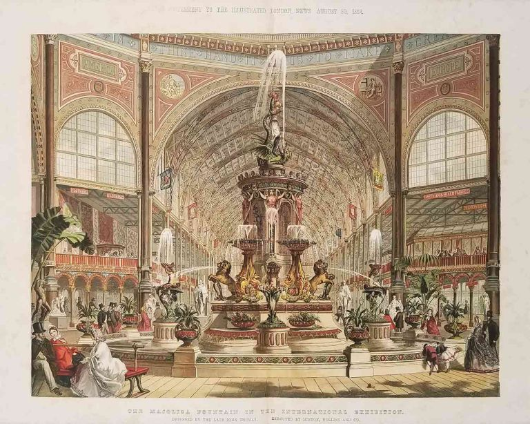 The Majolica Fountain in the International Exhibition. Supplement to The Illustrated London News. August 30, 1862. ENGLAND - INTERNATIONAL EXHIBITION -, VICTORIAN CERAMICS DESIGN.