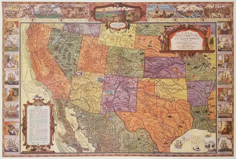 A Map of Exploration in the Spanish Southwest 1528 - 1793. UNITED STATES SOUTH WEST HISTORY, Joseph J. Hill.