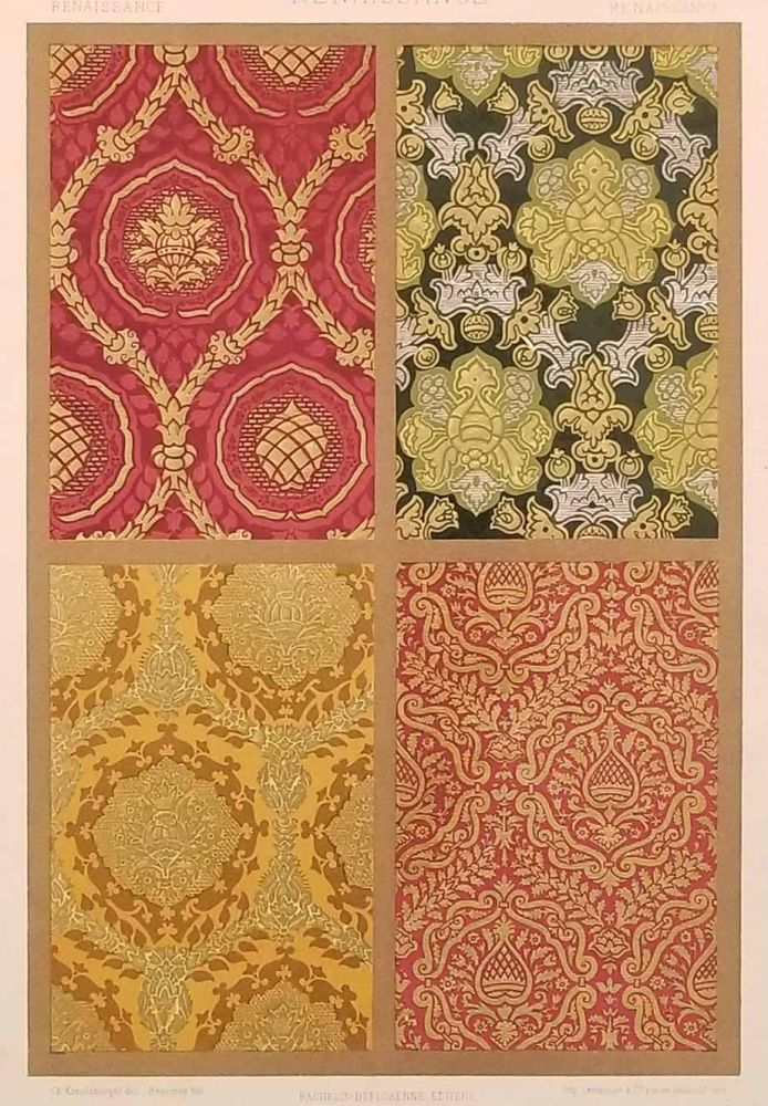 Color lithograph from L'Ornement des Tissus 1877. FABRIC DESIGN - RENAISSANCE, M. Dupont-Auberville.