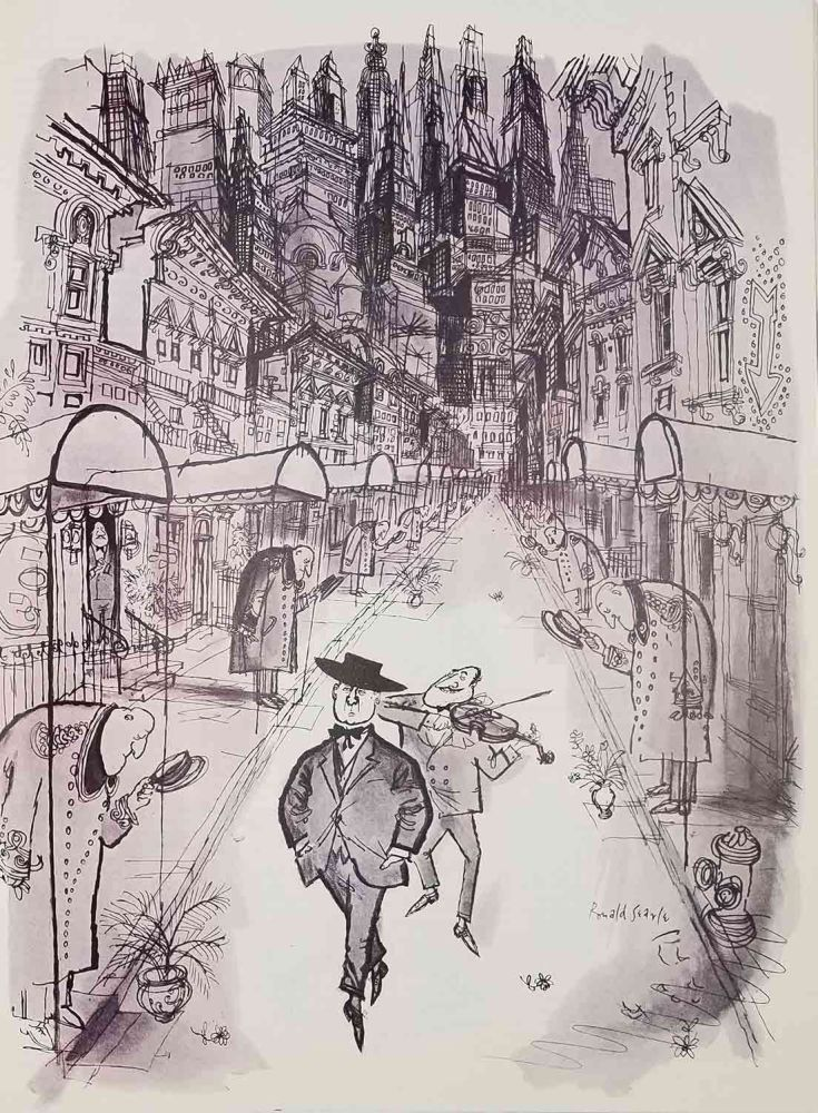 """Holiday Magazine. November 1957. (Including article: """"Spendthrift Tour of New York"""" by Lucius Beebe illustrated by Ronald Searle). NEW YORK / QUEEN ELIZABETH."""