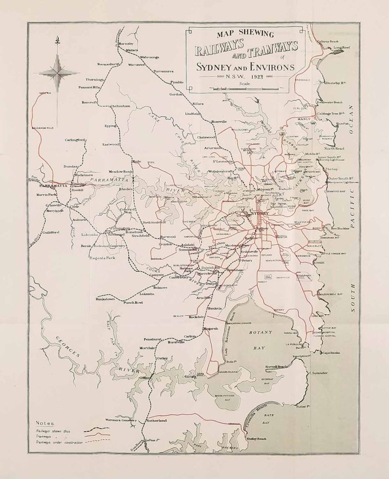 The Daily Telegraph Guide to Sydney (Map titles: Map of Sydney New South Wales Australia / Map Shewing Railways and Tramways of Sydney and Environs). AUSTRALIA - SYDNEY.
