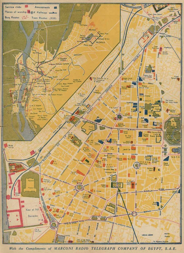 Services Guide to Cairo. [with color fold-out centrefold map]. EGYPT - CAIRO - WORLD WAR II ERA.