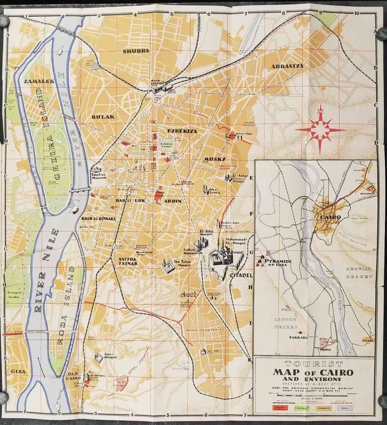 Tourist Map of Cairo and Environs / Cairo This Week. [TWO ITEMS]. EGYPT - CAIRO.