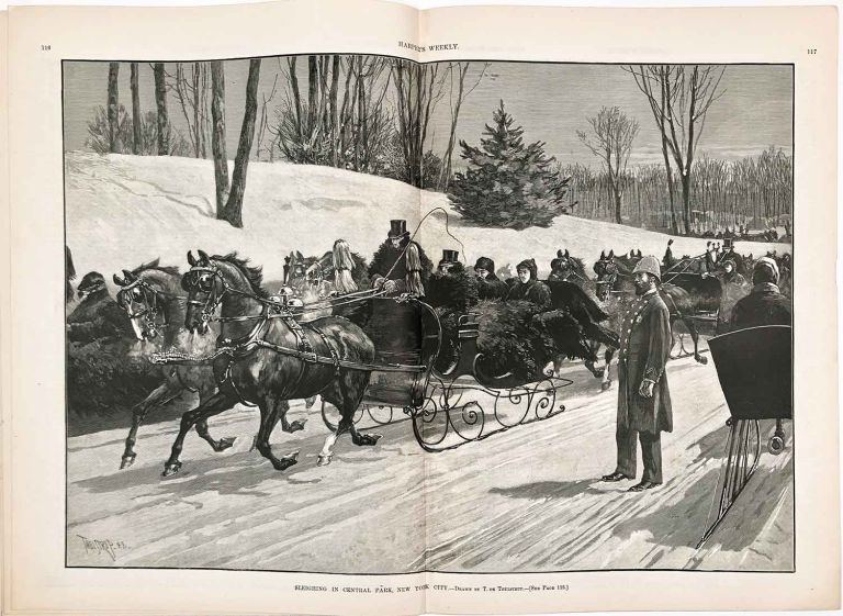 Sleighing in Central Park, New York City. IN COMPLETE ISSUE OF HARPER'S WEEKLY. NEW YORK CITY / AFRICAN AMERICANA.