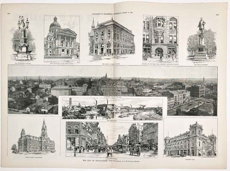The City of Indianapolis. IN COMPLETE ISSUE OF HARPER'S WEEKLY August 11 1888. INDIANAPOLIS / CIVIL WAR.