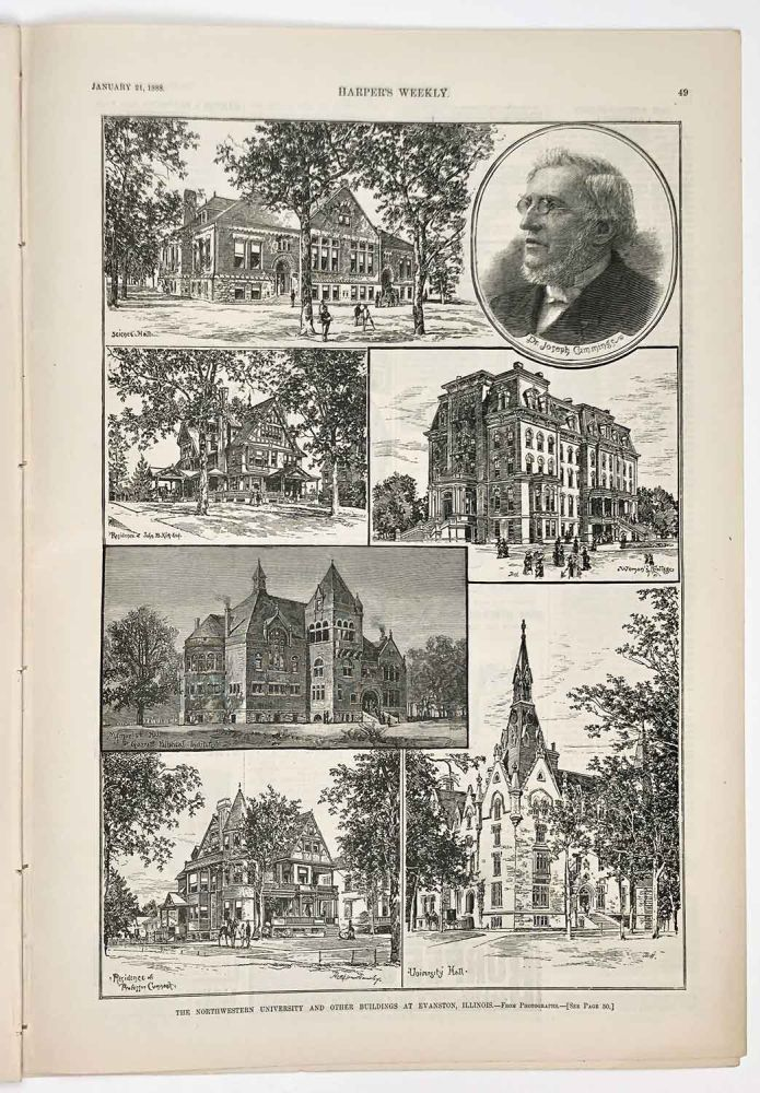 The Northwestern University and Other Buidlings at Evanston, Illinois. IN COMPLETE ISSUE OF HARPER'S WEEKLY. ILLINOIS - CHICAGO.