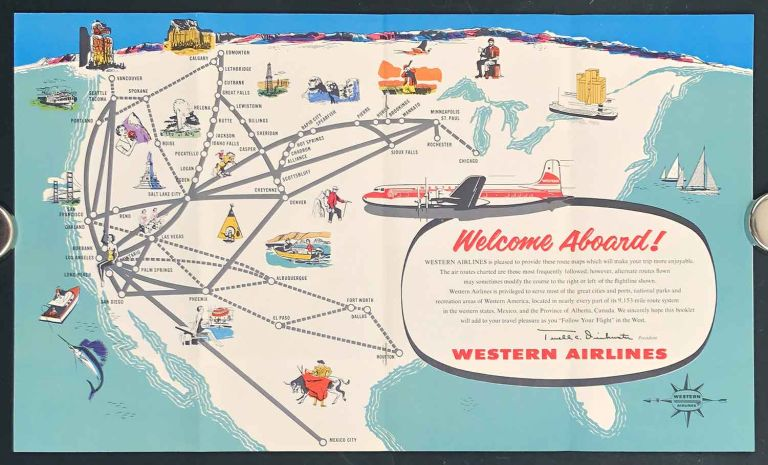 Follow Your Flight Aboard Western Airlines. AIRLINES - WESTERN.
