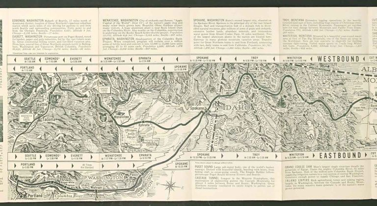 Route map and schedule of the Incomparable Empire Builder. Great Northern Railway. GREAT NORTHERN RAILWAY.