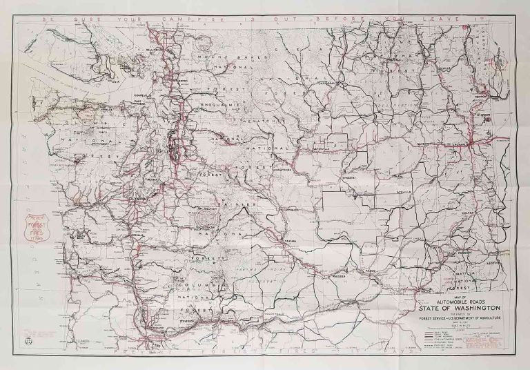 Road and Recreation Map Washington by WASHINGTON STATE on oldimprints.com