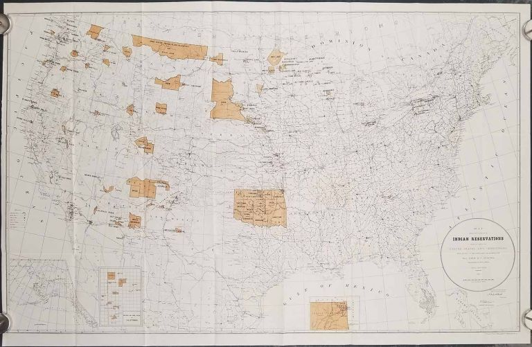 Map Showing the Location of the Indian Reservations Within the Limits of the United States and Territories. INDIAN RESERVATIONS, John D. C. Atkins.