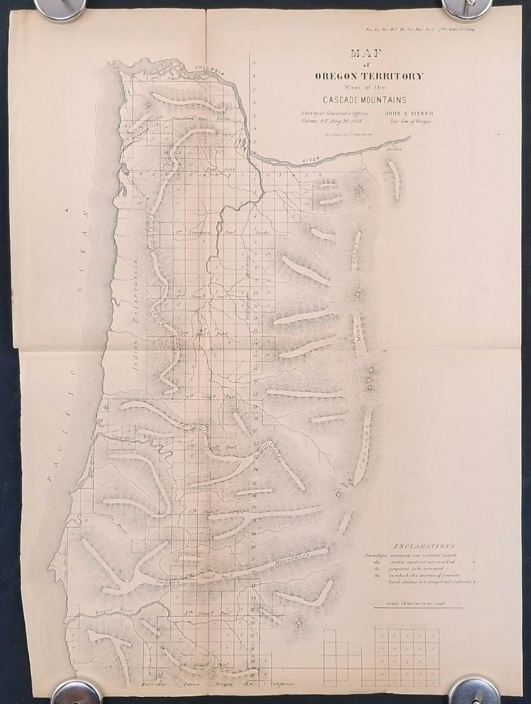 Map of Oregon Territory West of the Cascades Mountains. OREGON TERRITORY 1858.