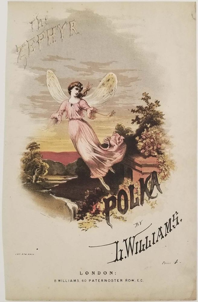 The Zephyr Polka. SHEET MUSIC COVER, L. Williams.
