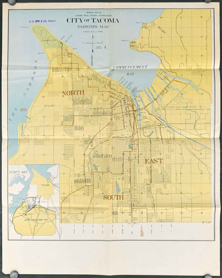 Official Map of Tacoma Real Estate Association. City of Tacoma. Parker's Map. WASHINGTON STATE - TACOMA.