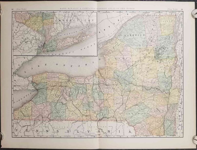 Rand, McNally & Co.'s New Business Atlas Map of New York. NEW YORK - RAILROADS.