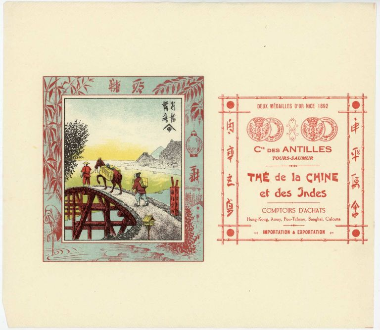 The de la Chine et des Indes. [vintage paper advertising label for tea from China and India]. TEA - ADVERTISING - TURN OF THE TWENTIETH CENTURY.