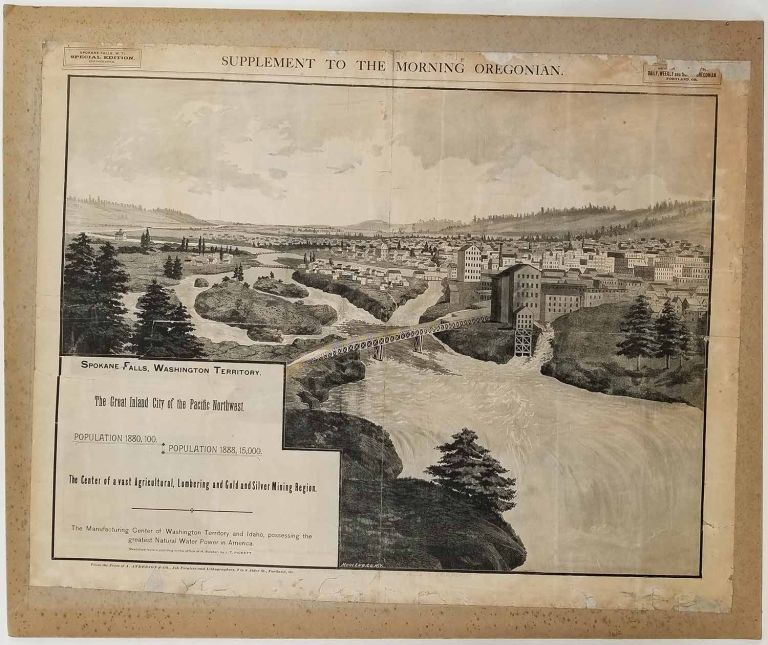 Spokane Falls, Washington Territory. The Great Inland City of the Pacific Northwest. Supplement to the Morning Oregonian. WASHINGTON STATE - SPOKANE - BIRD'S EYE VIEW.