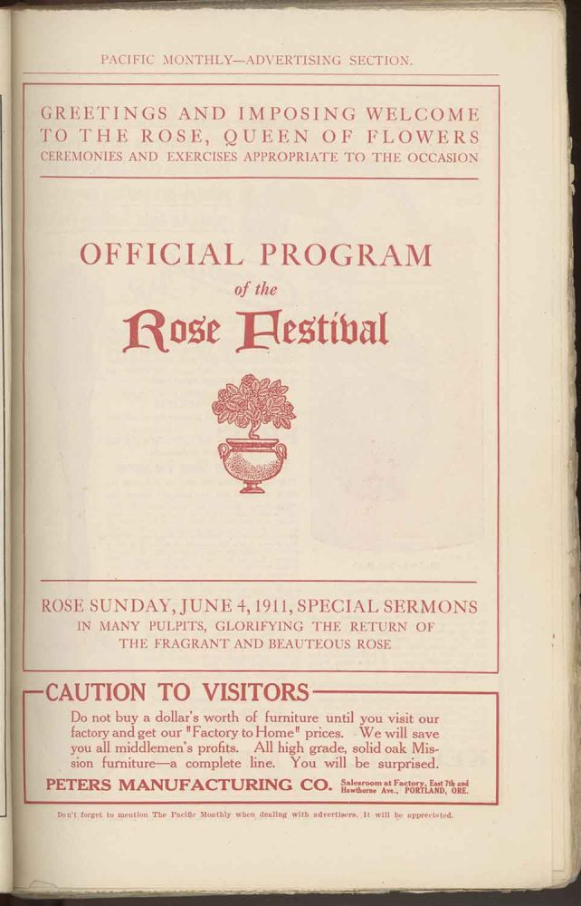 The Pacific Monthly. June, 1911. OREGON / ROSE FESTIVAL / REED COLLEGE, William Bittle Wells.