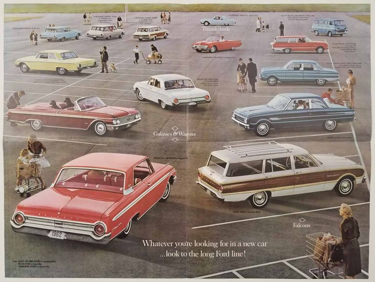 The 1962 Fords. Falcons, Galaxies, Wagons, Thunderbirds. FORD - AUTO SALES POSTER / PAMPHLET.