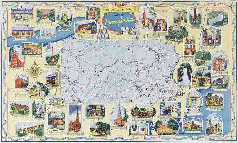 Sunoco Historical-Pictorial Map of Pennsylvania. (Cover title: Pennsylvania. Sunoco Road Map and Historical Scenic Guide. Compliments of your Sunoco Dealer). PENNSYLVANIA - ROAD MAP.